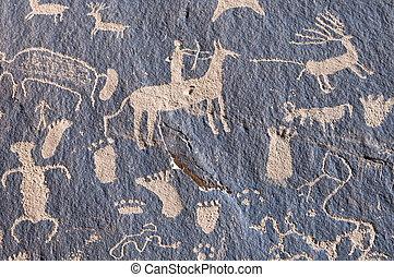 Indian petroglyph in Newspaper Rock, Utah