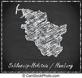Map of Schleswig-Holstein as chalkboard  in Black and White