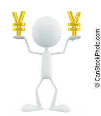 White character with yen sign