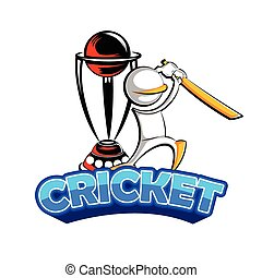 Cricket batman playing with trophy - easy to edit vector...