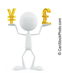 White character with yen and pound sign