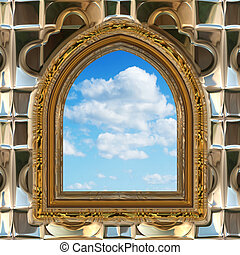 gothic or scifi window with blue sky