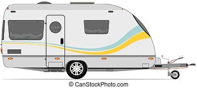 Modern caravan. Vector without gradients.