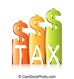 Rising Tax Rate Concept - Vector illustration of graph...
