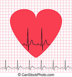 Heart icon with electrocardiogram on grid background, 2d...