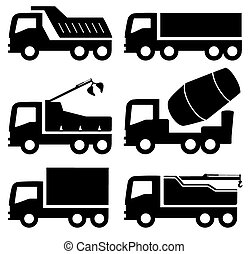 industrial trucks icons set - black six isolated industrial...