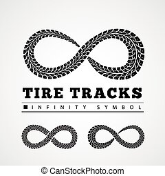 Tire Tracks in Infinity Form Vector illustration
