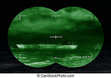 Infrared night view - Sea freight and contemporary threat of...