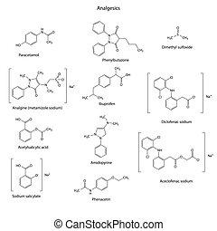 Analgésicos, drogas, químico, Conjunto, -, Esquelético,...