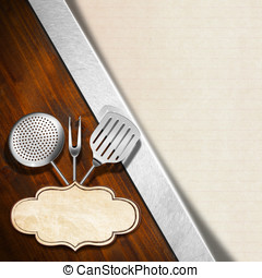 Rustic Menu Template - Wooden background with kitchen...