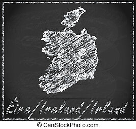 Map of Ireland as chalkboard