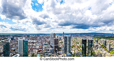 Financial district in Frankfurt - Summer panorama of the...