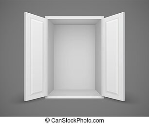 Empty white box with open doors and nothing inside