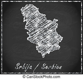 Map of Serbia as chalkboard  in Black and White
