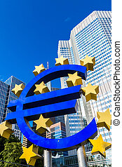 Euro sign in Frankfurt - Euro sign European Central Bank...