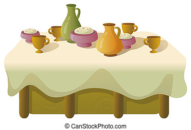 Dinner table - illustration drawing of food and drink on the...