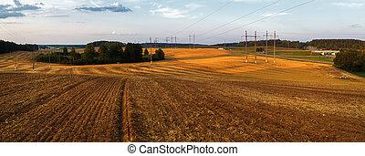 Rural landscape at sunset