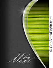 Vegan Menu Menu Template - Black and gray background, metal...