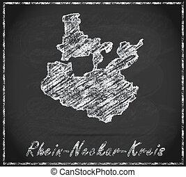 Map of Rhein-Neckar-Kreis as chalkboard  in Black and White