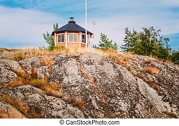 Yellow Finnish Lookout Wooden House On Island In Summer -...