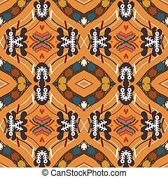 Seamless background from a floral ornament orange tribal...