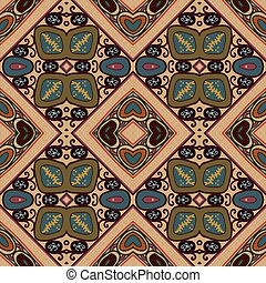 Floral seamless blue green ornament tribal style. Ethno....