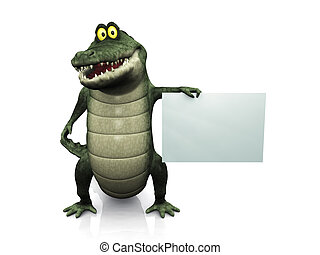 Cartoon crocodile holding blank sign. - An adorable smiling...