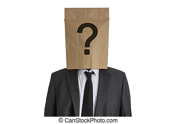 Man with Paper Bag with question mark on his head - A Man in...