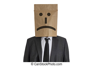 Man with Paper Bag on his head - A Man in suit with a paper...