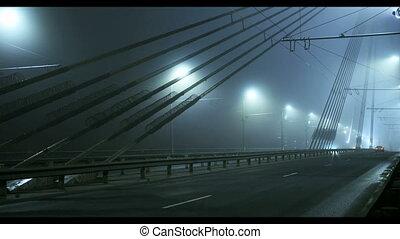 Stone Vansu bridge across Daugava river in Riga, Latvia