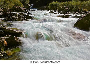 água, cascatas, gelado