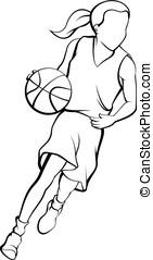 Girl Dribbling A Basketball Outline - Outline of girl...