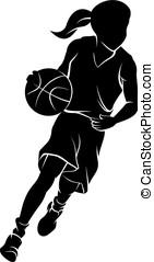 Girl Dribbling A Basketball Silhouette - Silhouette of girl...