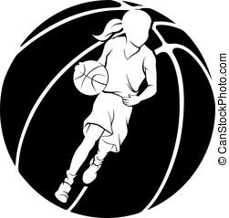 Girl Dribbling A Basketball - White silhouette of girl...
