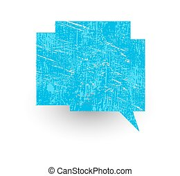Grungy Talk Bubble - Abstract Grunge Blue Chat Bubble Vector...