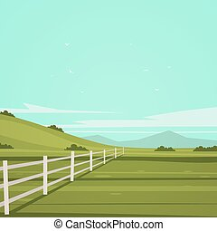 Cartoon Landscape - Summer cartoon landscape with white...