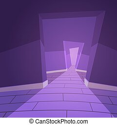 The Hallway - Cartoon illustration of the abstract hallway