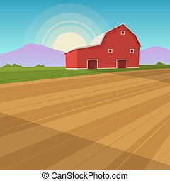 Farm Landscape - The red farm barn background, cartoon...