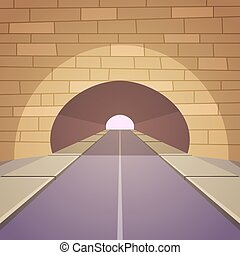 Tunnel Road - Cartoon illustration of the tunnel road with...
