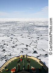 View of Antarctica from the bow of a Russian icebreaker on...