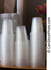 plastic cups, single and pile stack