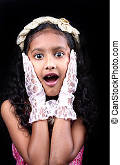 Surprised Girl - A portrait of a cute Indian girl with a...