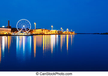 Night Scenery View Of Embankment With Ferris Wheel In Helsinki,