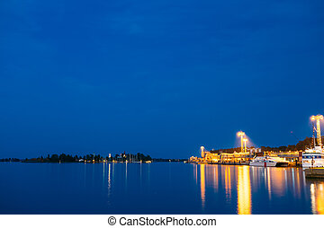 Night Scenic View Of Embankment In Helsinki, Finland