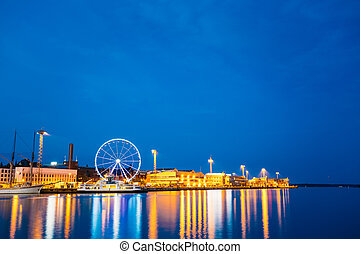 Night Scenic View Of Embankment With Ferris Wheel In Helsinki, F