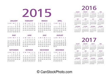 English Calendar 2015 2016 2017 illustration vector purple...