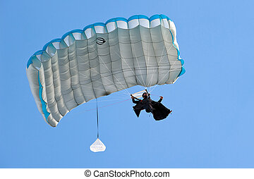 ZAGREB, CROATIA - AUG 29: Parachuter jumps on Zagreb Air...