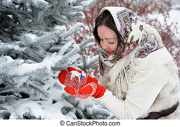 Young Russian woman in winter park - Beautiful young Russian...