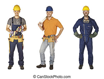 manual worker collection - caucasian young different manual...