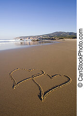 Forever Love - tho heart shapes writed on the beach sand